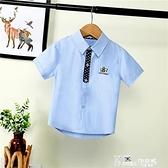 夏季純色短袖2021新款男童中大童短袖襯衫韓版男孩襯衣童裝夏裝潮