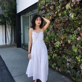 無袖洋裝 夏季網紅新款學生吊帶復古裙中長款無袖收腰學生修身洋裝女 魔法鞋櫃