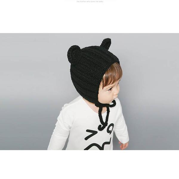 #毛帽#萌#卡通 可愛 熊熊 綁帶 針織 毛線帽【YJM-A164】 icoca