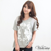 Victoria 印染拼接雪紡TEE-女-淺灰-V8524983