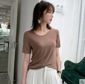 冰絲上衣 t恤女短袖寬鬆夏季新款冰絲棉上衣純色大碼體桖白色打底衫