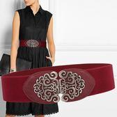 腰封 復古民族風連衣裙裝飾寬腰帶女士黑紅色鬆緊彈力百搭皮帶6cm - 歐美韓