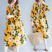 洋裝 連身裙 減齡大碼女裝春秋新款高腰顯瘦a字裙女寬鬆遮肚子棉麻印花洋裝