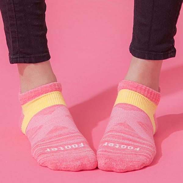 Footer 除臭襪 繽紛花紗輕壓力足弓船短襪(女)T108M-桃紅 22-25cm