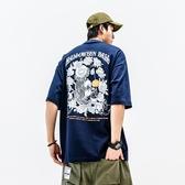 T恤男 夏季日系潮牌惡搞印花TEE韓版休閑情侶短袖圓領寬松T恤男
