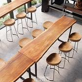 吧檯桌 美式整板原實木吧臺桌靠墻鐵藝長條酒吧臺家用奶茶店高腳桌椅組合 現貨快出