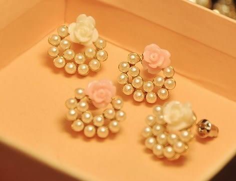 [協貿國際]  韓版飾品優雅珍珠玫瑰花朵耳釘耳飾 (4個價)