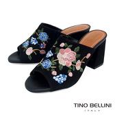 Tino Bellini 巴西進口絕美刺繡花妍高跟魚口涼拖鞋 _ 黑 B83241 歐洲進口款