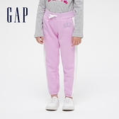 Gap女童 Logo側邊撞色條紋鬆緊長褲 627221-淡紫色