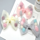 公主透明紗球蝴蝶結蕾絲髮夾 兒童髮飾 髮夾