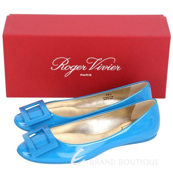 Roger Vivier Gommette 漆皮方框平底娃娃鞋(藍色) 1310378-B1