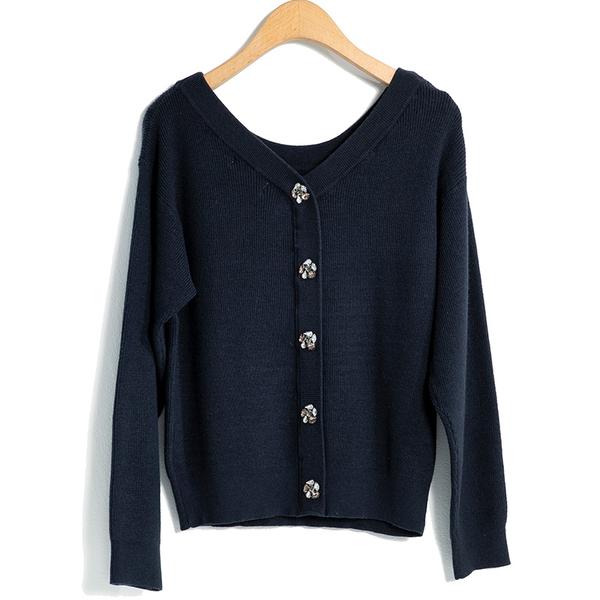 秋冬7折[H2O]兩面穿也可當外套鑽石裝飾釦開襟毛衣 - 深藍/紫/淺藍色 #9630018