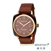 BRISTON 方糖錶 可可色 金框 前衛設計 時尚帆布錶帶 男女 生日情人節禮物