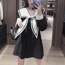 DW 法式設計感小眾海軍風領洋裝女2021新款春裝高端氣質ins短裙 設計師