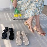 網紅方頭粗跟涼拖鞋女夏季新款潮學生簡約百搭高跟鞋 - 風尚3C