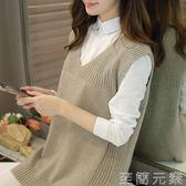 毛線背心女秋冬毛衣針織馬甲寬鬆V領韓版中長款坎肩女新款潮 至簡元素