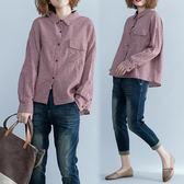 棉麻格子襯衫女長袖秋裝新款韓版學生大尺碼寬鬆百搭秋天上衣女 快速出貨