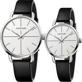Calvin Klein CK Even 超然系列十字線情侶對錶-銀x黑/42+36mm K7B211CY+K7B231CY