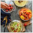 大號透明家用帶蓋耐熱玻璃碗微波爐湯碗泡面碗保鮮碗菜碗湯盒色