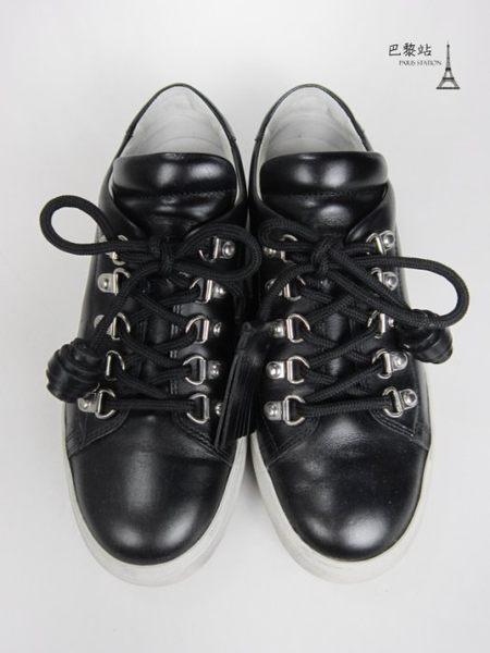 【巴黎站二手名牌專賣店】*現貨*TOD'S 真品*黑色皮革平底休閒鞋 (37號)