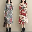 民族風復古棉麻長袖洋裝女春季寬鬆大碼顯瘦...
