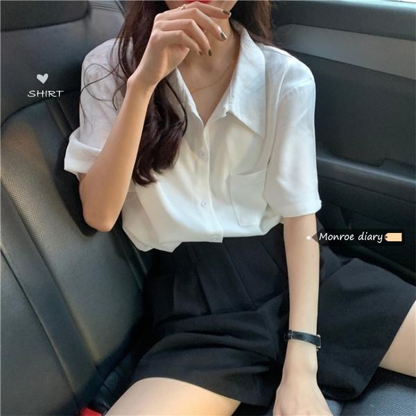 polo白色襯衫女寬松百搭短袖襯衣2021新款夏季設計感小眾上衣外套