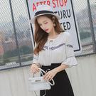 VK精品服飾 韓國風時尚復古喇叭袖系帶雪紡學院風圓領短袖上衣
