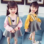 女童套裝裙 女童秋裝套裝大碼新款兒童兩件套3女寶寶洋氣時髦小童洋裝 qf13611【黑色妹妹】