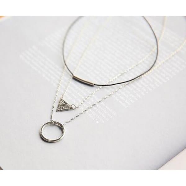 項鍊 日韓氣質款簡約三層三角圓環幾何造型短款鎖骨鍊【1DDN0150】