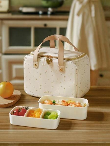 飯盒手提包保溫袋鋁箔加厚便當袋飯盒袋子帶飯包大號上班族餐包 夢幻小鎮