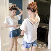 白色短袖t恤女裝2018春夏新款韓版學生寬松百搭喇叭袖v領上衣服女