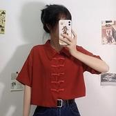 寬鬆盤扣短款設計感小眾雪紡短袖襯衫復古港味時尚上衣女夏季襯衣 - 風尚3C