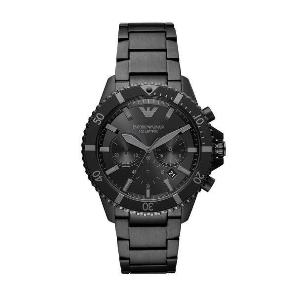 EMPORIO ARMANI 霧黑極致三眼計時腕錶-黑