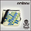美式風格 骷髏頭 字母側背包 / 斜背包 / 郵差包 淺綠配黃 AMINAH~【am-0182】
