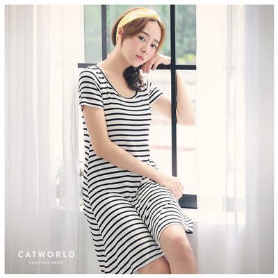 Catworld 經典條紋。居家短袖BRA睡衣【18801595】‧M/L/XL/XXL