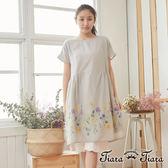 【Tiara Tiara】百貨同步 純棉裙擺花草印象短袖洋裝 (灰/黑)
