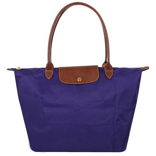 LONGCHAMP 摺疊款 L長帶紫晶色(藍紫色)  肩背水餃包(大款)