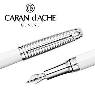 CARAN d'ACHE 瑞士卡達 LEMAN 利曼亮白漆鋼筆(銀蓋)-M / 支
