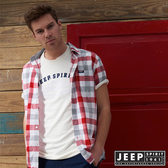 【JEEP】文青風格時尚格紋短袖襯衫 (紅灰格)