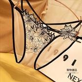 性感蕾絲女士內褲輕薄透氣文藝宮廷刺繡花朵三角褲誘惑透明【聚物優品】
