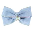 【粉紅堂 髮飾】雙層緞帶牛仔布蝴蝶結髮夾 *刷白藍 / 藍色*