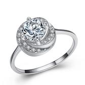 925純銀戒指 鑲鑽-浪漫玫瑰生日情人節禮物女配件73an16【巴黎精品】