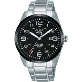 ALBA 雅柏 城市情人太陽能時尚手錶-黑x銀/39mm AS32-X018D(AX3005X1)