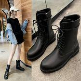 短靴   馬丁靴女2019秋季新款英倫風帥氣百搭中筒機車靴單靴