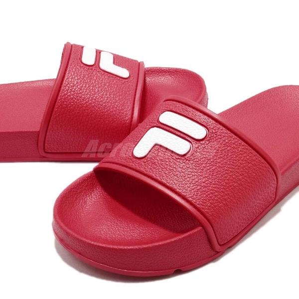 FILA 拖鞋 S316S 紅 白 復古 涼拖鞋 韓系 情侶鞋 經典LOGO 男鞋 女鞋【PUMP306】 4S316S221