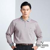 【Emilio Valentino】時尚配色橫條紋加厚保暖POLO衫 - 粉橘/灰