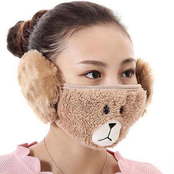 【獨愛3C用品】【買三送一】冬季必備保暖卡通造型小熊絨毛防塵口罩耳罩二合一(編號3/棕色)