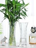 玻璃花瓶透明水養富貴竹百合花瓶擺件客廳插花干花北歐家用特大號『摩登大道』