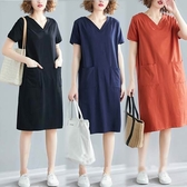 棉質V領舒適雙口袋洋裝-多尺碼 獨具衣格 J2754