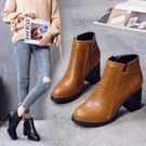 秋冬馬丁靴女短靴中跟粗跟女靴子及踝靴切爾西顯瘦正韓靴 優樂居